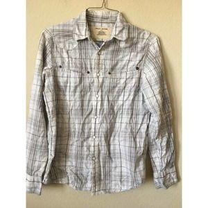 DKNY Jeans Plaid Stitch Long Sleeve Collared Shirt